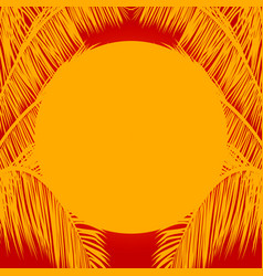 Yellow sun and palm trees mask on red background vector