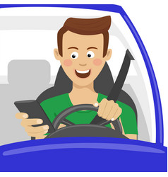 Young man using his smartphone behind the wheel vector