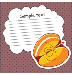 Card with apple and message cloud vector