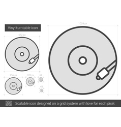 Vinyl turntable line icon vector