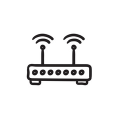Wireless router sketch icon vector