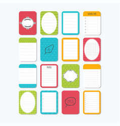 collection of various note papers template vector image