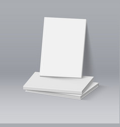 Stack of blank white books business mockup vector