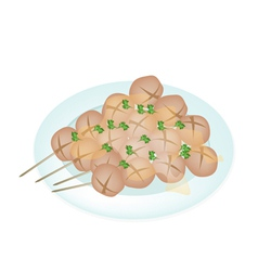Thai style grilled meatball in white plate vector