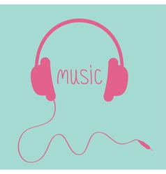 Pink headphones with cord and word music card vector