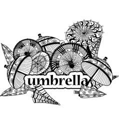 Decorative image of umbrellas in cartoon style vector