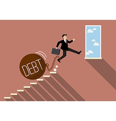 Businessman jumping to success with heavy debt vector