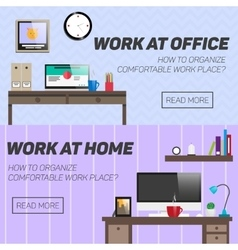 Home and office work place concept vector
