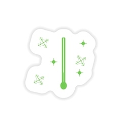 Paper sticker on white background thermometer vector