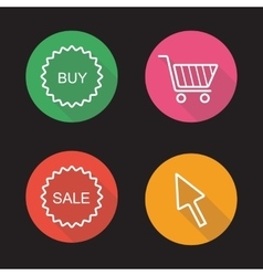 Online shop flat linear icons set vector