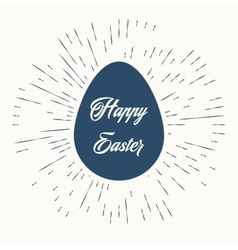 Happy easter and vintage sun burst frame vector