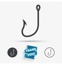 Fishing hook sign icon Fishermen tackle symbol vector image