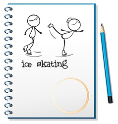 A notebook with an image of two people ice skating vector image vector image