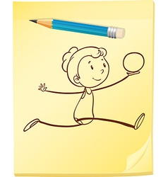 A notepad with a girl and a pencil vector image
