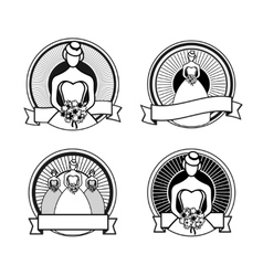 Black and white wedding stamps vector