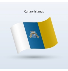 Canary Islands flag waving form vector image vector image