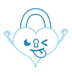 Color line funny heart padlock kawaii personage vector