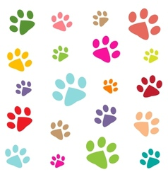 colored pattern with paw prints vector image