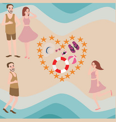 couple and friend enjoy summer beach vector image vector image