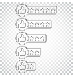 Customer review icon thumb up with stars rating vector