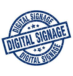Digital signage blue round grunge stamp vector