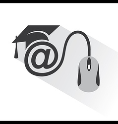 e-learning concept with graduation cap and compute vector image