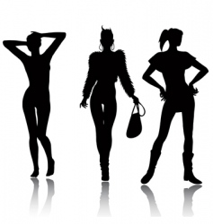 fashion woman silhouette set vector image vector image