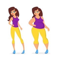 Fat and slim woman in sport wear vector