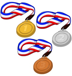 First second and third place medals pack vector