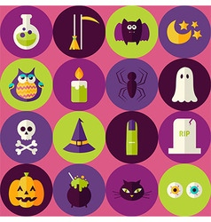 Flat halloween scary witch seamless pattern with vector