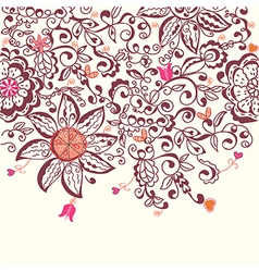 Floral background hand drawn design vector image