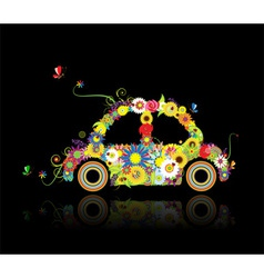 Floral car shape on black for your design vector image vector image
