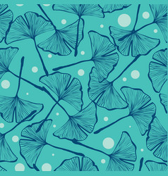 gingko biloba seamless background pattern vector image