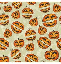 Halloween pumpkins pattern cute seamless vector