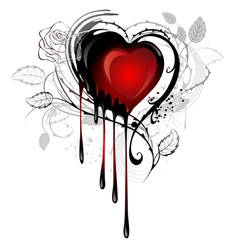 Heart drawn with paint vector