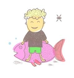 Horoscope fish vector image vector image