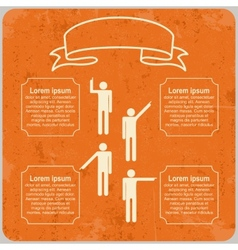 Infographic template with pointing hands and text vector