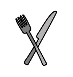Knife and fork kitchen cutlery isolated icon vector