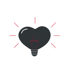 lamp in the shape of a heart with the word love vector image