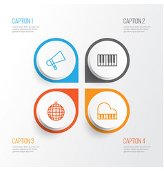 Music icons set collection of piano bullhorn vector