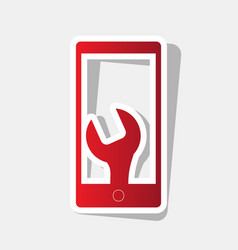 Phone icon with settings new year reddish vector