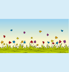 seamless cartoon nature background with flowers vector image vector image