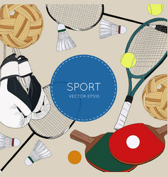 set of colorful sport balls and gaming items vector image vector image