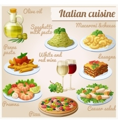 Set of food icons italian cuisine spaghetti with vector