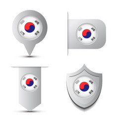 Set of stikers andmap pointer with south korea vector