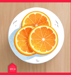 Slices of orange on wooden table background vector
