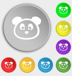 Teddy bear icon sign symbol on eight flat buttons vector
