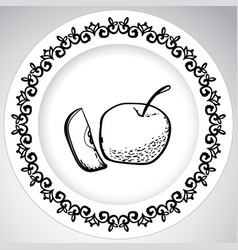 template plates pattern with fruit in a graphic vector image