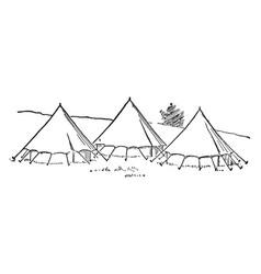 Three tent vintage vector