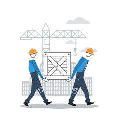 Two workers moving boxes together vector